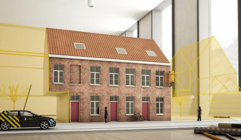 Drie rijwoningen met terras in het historische Brugge