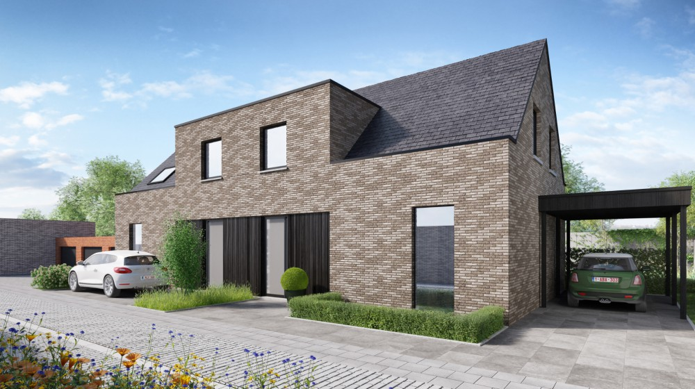 Twee nieuwe gezinswoningen in Bulskamp (Veurne)